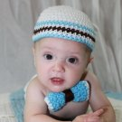 crochet baby boy beanie hat and bow tie