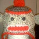 crochet baby sock monkey earflap hat you choose the size