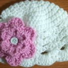 crochet baby girl hat includes 2 interchangeable flowers (newborn)