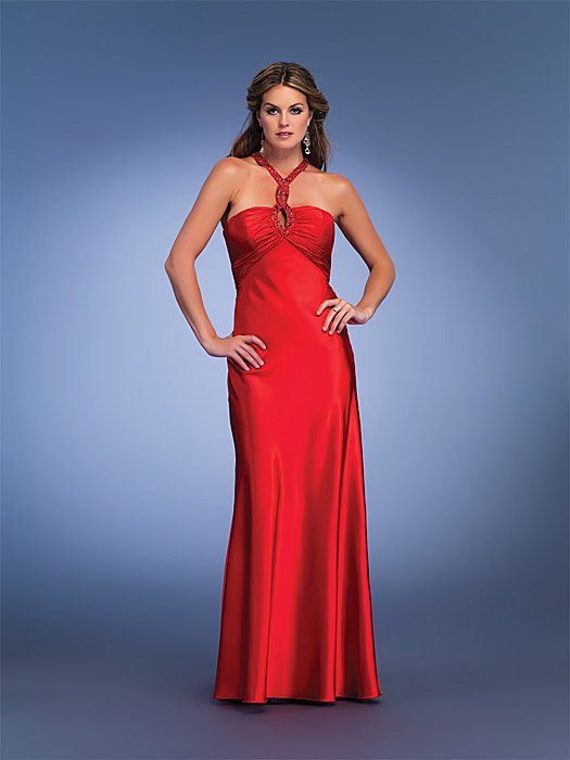 Red Prom Dress with Twisted Key-hole Halter Strap