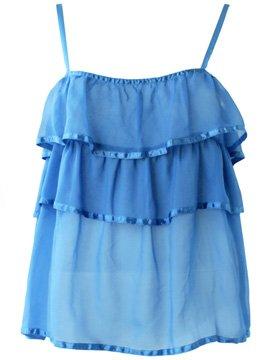 Ruffle Chiffon blue top