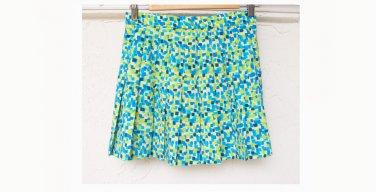 Pleated Green / Blue Pattern Skirt