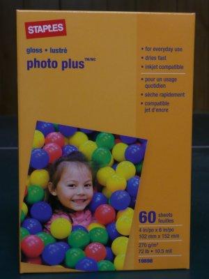 "Staples Photo Plus Paper, 4"" X 6"", Gloss, 60/pack"