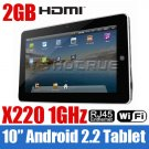 """10"""" Tablet PC epad Android 2.2 GPS MID Camera X220"""