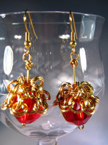 Chained Red Earrings Handcrafted