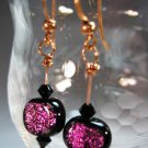 Orange and Purple Copper Earrings Handcrafted