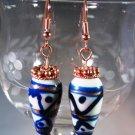 White Blue Black Earrings Handcrafted