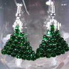 Christmas Tree Earrings Handcrafted