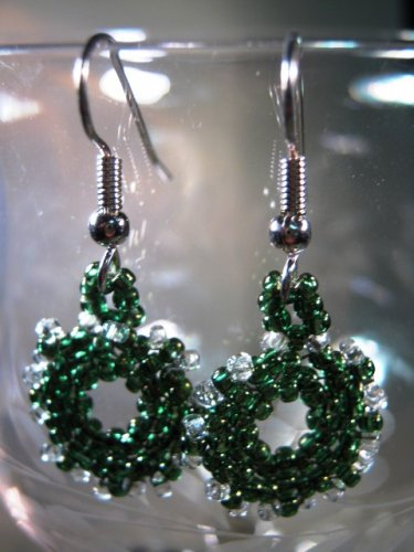 Christmas Wreath Earrings Handcrafted