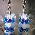 Stacked White Blue and Purple Earrings Handcrafted