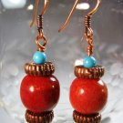 Sponge Coral Bead Earrings Handcrafted