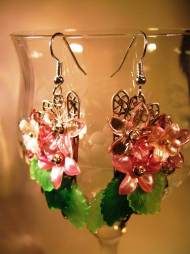 Pink Filigree Earrings Handcrafted