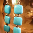 Turquoise Puff Earrings Handcrafted