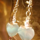 Light Blue Heart Earrings Handcrafted