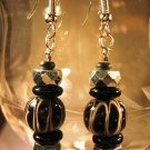 Black Lampwork Beaded Earrings Handcrafted