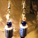 Blue and White Earrings Handcrafted