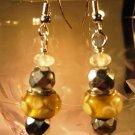 Yellow Lampwork Beaded Earrings Handcrafted
