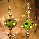 Green Dotted Earrings Handcrafted
