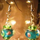 Blue and Rose Earrings Handcrafted