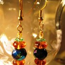 Amber and Green Earrings Handcrafted