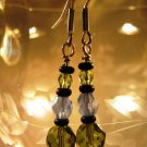 Olivine and Blue Earrings Handcrafted