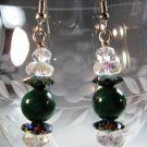 Swarovski and Malachite Earrings Handcrafted