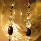 Mottled Blue and Black Earrings Handcrafted