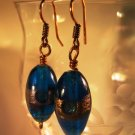 Blue and Copper Oval Earrings Handcrafted