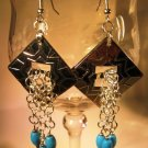 Turquoise and Silver Conches Earrings Handcrafted