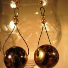 Amber and Gold Earrings Handcrafted