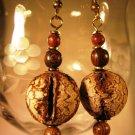 Mahogony Seed Pod Earrings Handcrafted