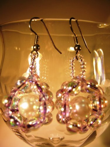 Silver and Faux Pearl Earrings Handcrafted