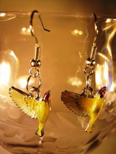 Yellow Bird Earrings French Wire Pierced