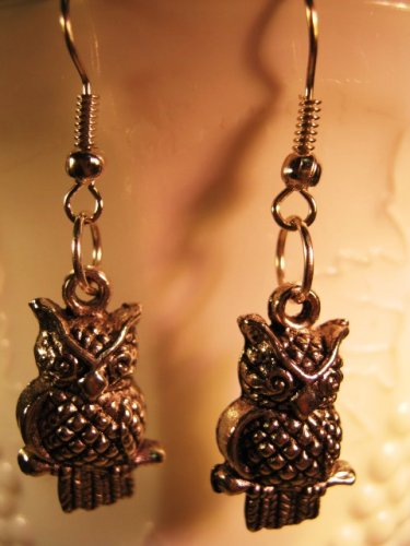 Owl Earrings French Wire Pierced Handcrafted
