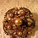Vintage Gold Tone Faux Pearl Brooch Pin