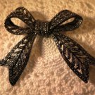 Large Vintage Silver Tone Bow Brooch Pin