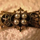 Vintage Gold Tone Brooch Pendant Faux Pearl