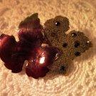 Vintage Autumn Leaves Brooch Pin