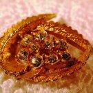 Vintage Gold Tone Leaf and Rhinestones Brooch Pin