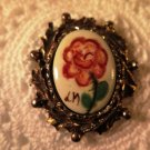 Vintage Painted Signed Pendant Gold Tone