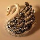 Enameled Swan Brooch Pin Figural