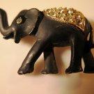Black Matte Elephant with Rhinestones Pin Figural
