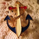 Vintage JJ Nautical Anchor Enameled Pin