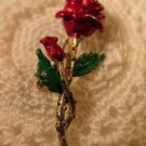 Vintage Enameled Red Rose Pin