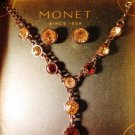 Monet Rhinestone Amber Gold Bronze Necklace Earring Set