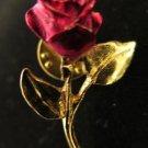Vintage Enamel Rose Lapel Pin
