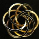 Vintage Circles on Circles Open Gold Tone Brooch Pin