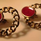 Vintage Gold Tone Chain Red Enamel Earrings Clip On