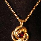 Gold Tone Necklace Garnet Crystal