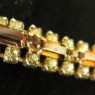 Vintage Rhinestone and Amber Clasp Bracelet